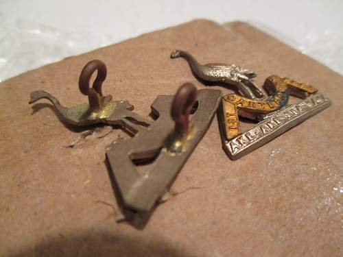 WW1 1st Canterbury Reg collar Badges. NZ