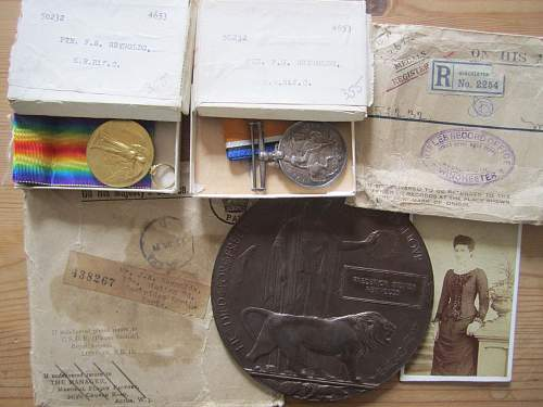 Pair and plaque to an 18 y/o who died in 1918