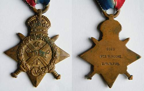 1914 Mons Star WT Rooke 2/RWF
