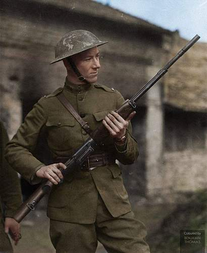 John M. Browning's son Lt. Val Browning with the M1918 Browning Automatic Rifle.