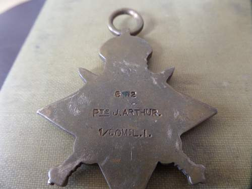 1914 star medal group Pte J Arthur 1st Batt Prince Alberts Somersetshire Light Inf ww1 POW
