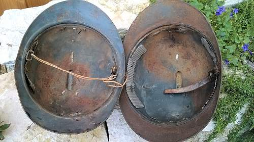 Two WWI French helmets