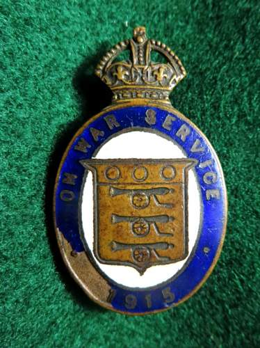 British War Service pin