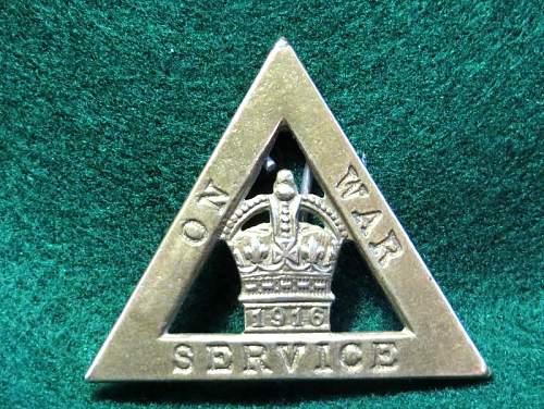 British War Service pin