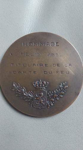 WW1 Belgian Cross of Fire and Plaque