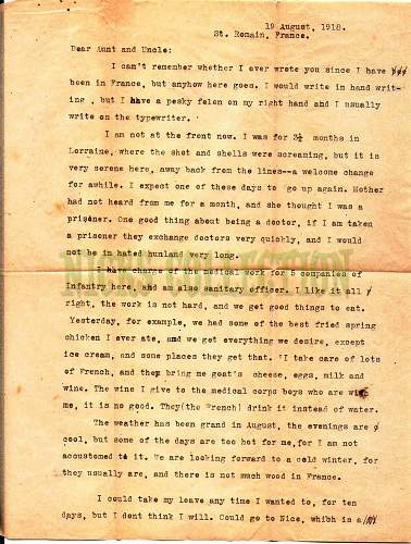 WW1 US letter from a doctor, 161 infantry medic dept