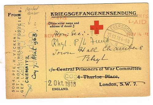 POW red cross parcel card