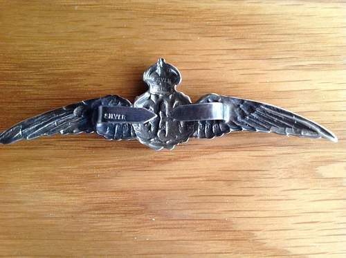 R.F.C. Silver winged badge.