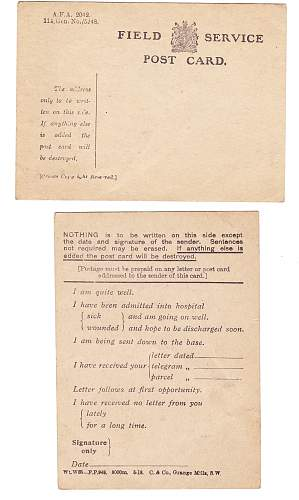 Click image for larger version.  Name:WW1 Field Postcard.jpg Views:7 Size:223.9 KB ID:987875